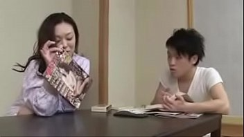japanese wifey with youthful boy drink.