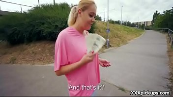 teenage czech damsel inhaling beefstick for currency in.