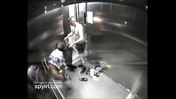 duo having orgy on motel elevator get caught.