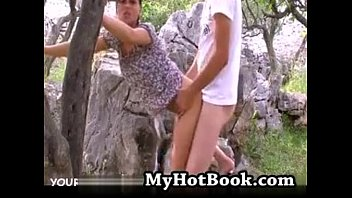 German couple having a pounding outdoors in nature
