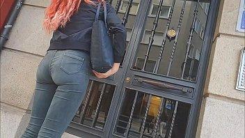 teenage arse jeans street youthful woman ambling candid.