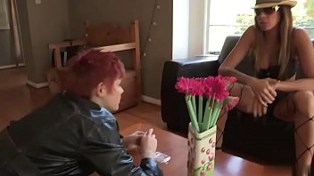 randy biotch munches redheads unshaved twat on the couch