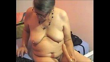 unshaved plumper grandma plays on webcam-.