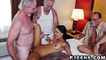 small latina nikki kay gets group-poked by trio.