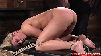 ball-gagged cougar spanked after cropping