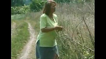 grannie plumper ildiko frolicking outside