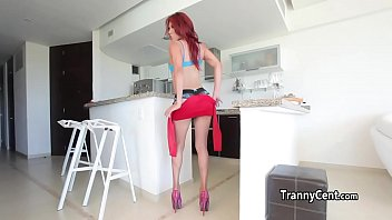 red-haired t-girl stroking solo