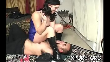 beautiful juvenile domina steps all over her inferior guy
